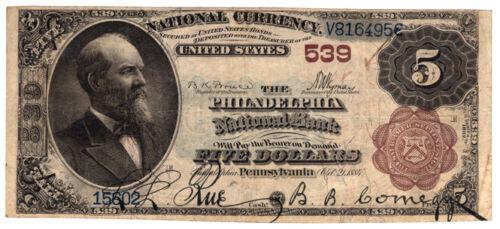 1882 Brown Back $5 The Philadelphia NB, Pennsylvania. Ch 539. Fine. Y00006603