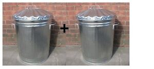 2-x-90-LITRE-GALVANISED-METAL-BIN-DUSTBIN-STORAGE-MADE-IN-UK