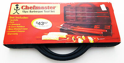 BBQ Tool Set Grilling Utensils with Hard Carry Case 15 Pieces Chefmaster