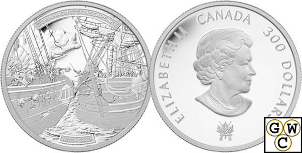 2013 Platinum HMS Shannon and USS Chesapeake $300 Platinum Coin 1oz .9999(13213)