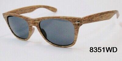 Unisex Sunglasses Wayfare Style Brown Wood Frame Classic Dark Lens NEW (Wood Frame Wayfarer Sunglasses)