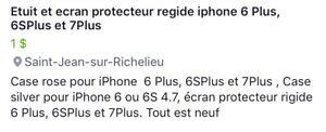 Etuit, vitre protectrice iPhone 6S plus, 7