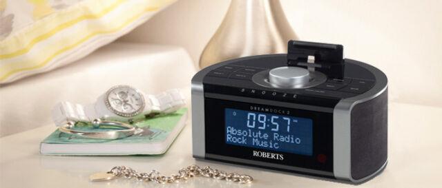 Roberts DREAMDOCK 2 Black DAB/DAB+/FM ClockRadio with iPod iPhone Dock