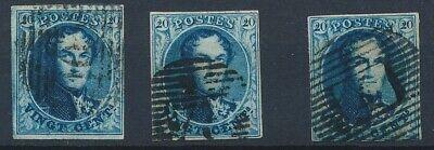[9901] Belgium good classic stamps very fine used (3x). Nice margins
