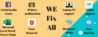 Fix your laptop/PC, get support for email, MS Excel, facebook