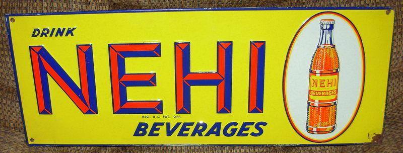 Vintage Embossed Nehi Beverage Drink Sign w Beautiful Color > Antique Soda 9285