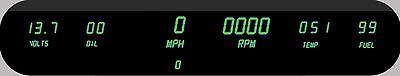 Intellitronix Universal Digital Gauge Cluster GREEN LEDs w/ Speedo Tach Dash USA