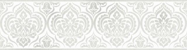 Fine Decor Glitz Ornimental Damask Wallpaper Border White & Silver - DLB50137