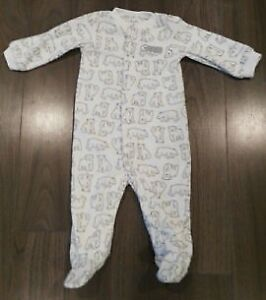 Carter's Zip-Up Fleece POLAR Bear Onesie PJs 9M