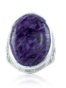 Huge Charoite silver scrollwork ring, brand new, size 7