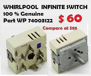 13 A WHIRLPOOL 100 % Genuine WP74003122 INFINITE SWITCH Dual Element Control Switch Part