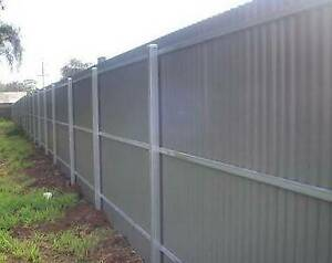 post and rail colourbond fence $32
