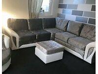SCS Crushed velvet corner sofa with FREE FOOTSTOOL