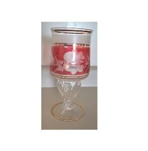 Bohemian Red Cut to Clear Crystal Footed Vase