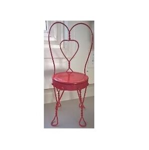 Red Metal Plant Stand with a Heart in the Middle