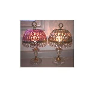 Pair of Crystal Glass Lamps with Prisms