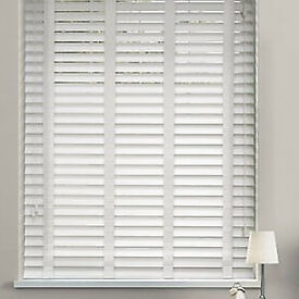 Two Unused Soft White Venitian Blinds with Wooden Slats and Linen Tapes