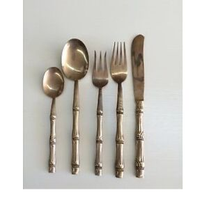 Vintage Hollywood Regency style gold faux bamboo flatware set