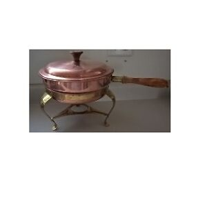 Vintage Copper Food Chafer Double Boiler with Brass Stand