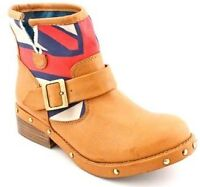 BOTTINE STYLE MOTO LONDON REBEL MONARCH BOOTIE CAMEL NEW / NEUF