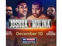 Anthony Joshua V Eric Molina - 1 Seated Ticket in C Section Floor Block For Collection on the day