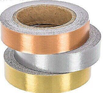3 Rolls Metallic Silver Gold Copper Washi Tape Decorative Planner Supply Bujo