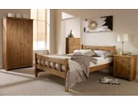 Sturdy 4ft6 double bed frame, solid pine, aztec wax finish, with quality mattress. Free Delivery