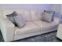 Leather 3 seater sofa chair and footstool