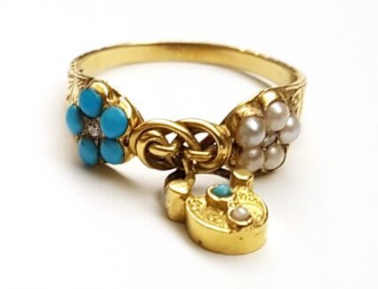 Early Victorian Tuquoise and Pearl lovers Knot Ring