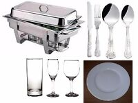 Catering equipment, tableware for HIRE Discount available - Chafing dishes, crockery, boilers,