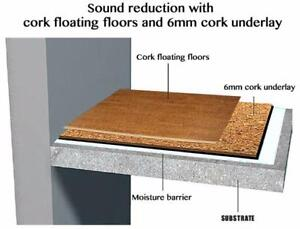 Acoustic floor Cork for sound reduction,  making your home quieter by installing Forna floating flooring + underlayment