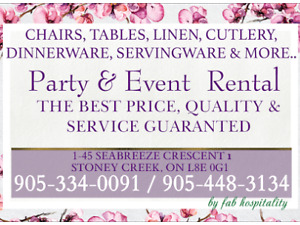 Party rentals, chairs, tables, linen, chafing dish, cutlery