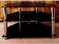 Black Glass & Chrome TV Stand - 74cm x 55cm (WxH) - Good Condition - £10 for quick sale