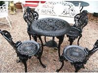 COALBROOKDALE SOLID CAST IRON GARDEN TABLE AND 4 CHAIRS
