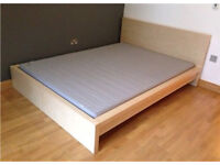 IKEA Malm Beech Double Bed with nearly new House of Fraser Mattress
