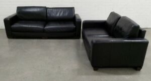 Genuine Leather Modern Pair of 2 Black Sofa Lounge Couch Suite Deliver