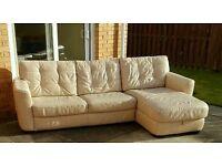 Cream leather sofa with storage