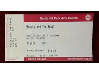 5 tickets for Beauty and the Beast panto at south hill park 10 dec 2017 4:30pm