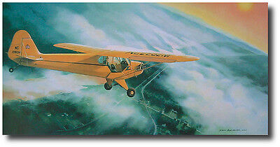 """Duane Francies /""""Duel in the Sun/"""" Burt Mader L-4 Piper Cub Print co-signed by Lt"""