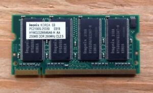 Mémoire portable (2) Hynix 256MB PC-2100 266Mhz memory laptop
