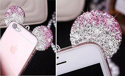 iPhone 5S/6S+/7+ 8 Plus/X - PINK DIAMOND MINNIE MOUSE EARS TPU RUBBER CASE COVER (Minny Mouse)
