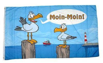 Flagge / Fahne Moin Moin Möwen Hissflagge 90 x 150 cm