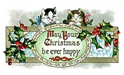 Cats Christmas Ever Happy Crazy Quilt Block FrEE ShiPPinG WoRld WiDE ()
