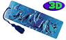 Dolphin Frenzy Moving 3D Hologram Bookmark with Tassel Book Place Holder 15X5 CM