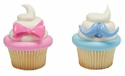 24 Boy Blue Mustache or Girl Pink Bows Gender Reveal Party Topper CupCake Rings