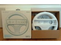 Nintendo Wii White Official Steering Wheel Boxed - New