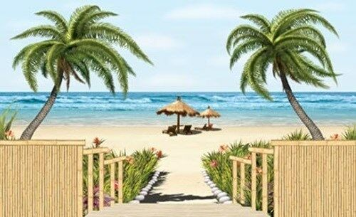 Tropical Beach Wall Mural, Pre-pasted, 8ft. 3in.Tall x 13ft