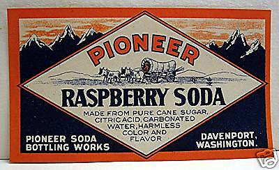 Pioneer Raspberry Soda Old Label Davenport Washington