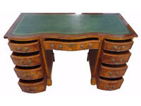 Yew Bevan Funnell New Leather Serpentine Desk with a Key