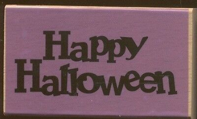HAPPY HALLOWEEN Card Word Darice Scrappy Cat NEW Medium Wood Mount RUBBER STAMP ](Halloween H Words)